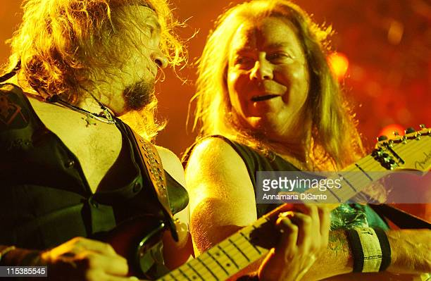 Adrian Smith and Dave Murray of Iron Maiden during Iron Maiden in Concert at Long Beach Arena on August 25 2003 at Long Beach Arena in Long Beach...