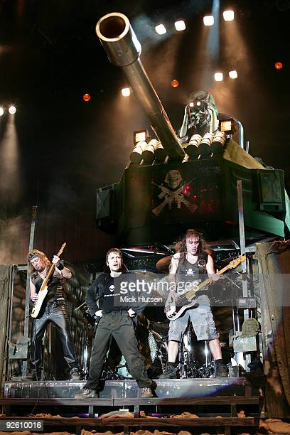 Adrian Smith Bruce Dickinson and Steve Harris of Iron Maiden perform on stage at the Lokomotiv Stadium on the 'A Matter Of Life And Death' tour on...