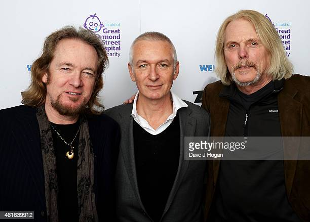 Adrian Smith from Iron Maiden Danny Bowes from Thunder and Scott Gorham from Thin Lizzy attend the Zoom F1 Charity auction in aid of Great Ormond...