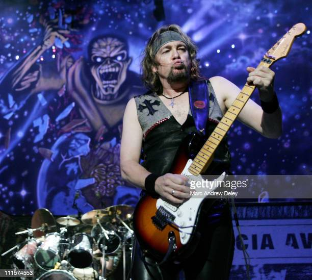 Adrian Smith of Iron Maiden during Ozzfest 2005 10th Anniversary Tour Opener Show July 15 2005 at Tweeter Center in Mansfield Massachusetts United...