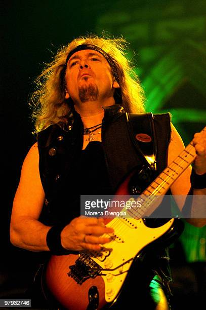 Adrian Smith of Iron Maiden performs at Datch forum on October 28 2003 in Milan Italy