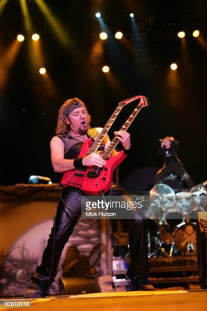 Adrian Smith of Iron Maiden performs on stage playing a Jackson twin necked guitar at the Lokomotiv Stadium on the 'A Matter Of Life And Death' tour...