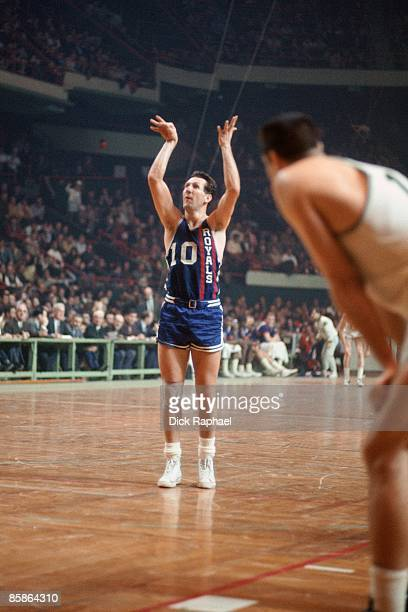 Adrian Smith of the Cincinnati Royals shoots a free throw against the Boston Celtics during a game played in 1967 at the Boston Garden in Boston...