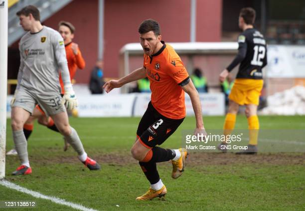Adrian Sporle celebrates his goal to make it 1-0 Dundee United during a Scottish Premiership match between Dundee United and Livingston at Tannadice...