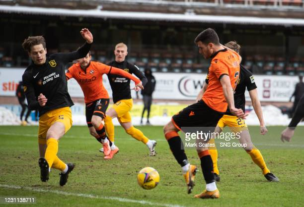 Adrian Sporle scores to make it 1-0 Dundee United during a Scottish Premiership match between Dundee United and Livingston at Tannadice Park, on...