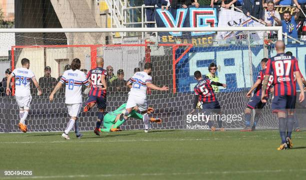 Adrian Stoian of Crotone scores the second goal during the serie A match between FC Crotone and UC Sampdoria at Stadio Comunale Ezio Scida on March...