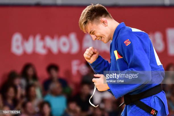 Adrian Sulka of Romania reacts after defeating Martin Bezdek of Czech Republic in the gold medal bout of Judo Mens 82 Kg during day 2 of Buenos Aires...