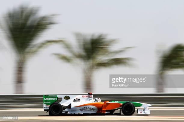 Adrian Sutil of Germany and Force India drives during practice for the Bahrain Formula One Grand Prix at the Bahrain International Circuit on March...