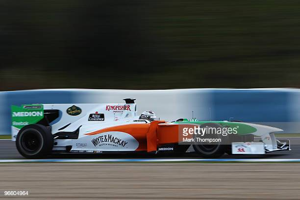 Adrian Sutil of Germany and Force India drives during winter testing at the Circuito De Jerez on February 12 2010 in Jerez de la Frontera Spain