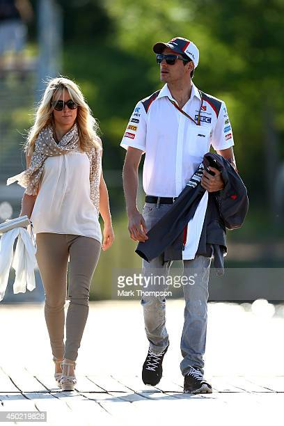 Adrian Sutil Of Germany And Sauber F1 His Girlfriend Jennifer Becks Arrive At The Circuit