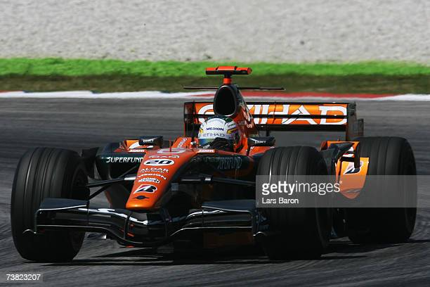Adrian Sutil of Germany and Spyker F1 competes during the practice for the Malaysian Formula One Grand Prix at the Sepang Circuit on April 6 in Kuala...