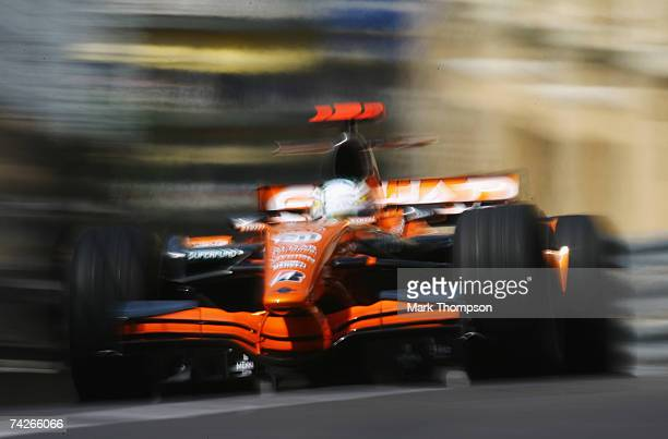 Adrian Sutil of Germany and Spyker F1 drives during practice for the Monaco Formula One Grand Prix at the Monte Carlo Circuit on May 24, 2007 in...