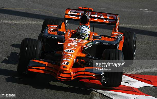 Adrian Sutil of Germany and Spyker F1 drives during practice for the Monaco Formula One Grand Prix at the Monte Carlo Circuit on May 24 2007 in Monte...