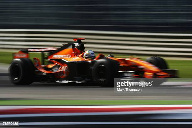 Adrian Sutil of Germany and Spyker F1 drives during practice for the Italian Formula One Grand Prix at the Autodromo Nazionale di Monza on September...