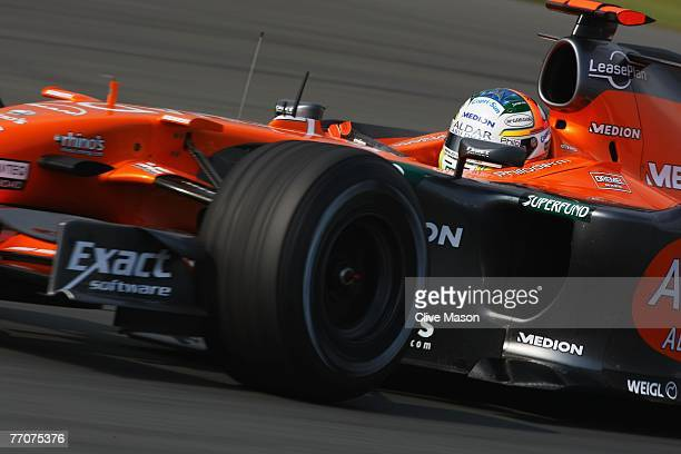Adrian Sutil of Germany and Spyker F1 drives during practice for the Japanese Formula One Grand Prix at the Fuji Speedway on September 28 2007 in...
