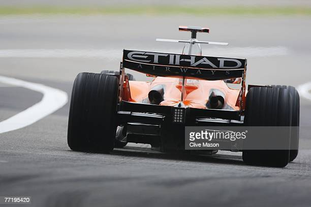 Adrian Sutil of Germany and Spyker F1 drives during practice for the Chinese Formula One Grand Prix at the Shanghai International Circuit on October...