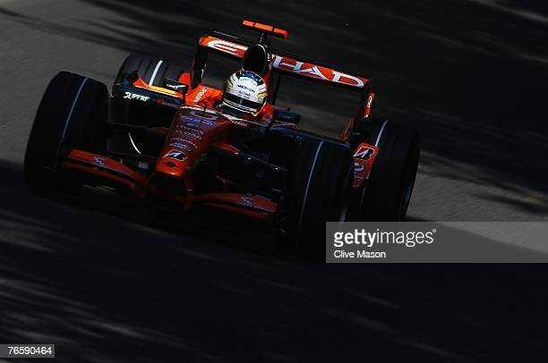 Adrian Sutil of Germany and Spyker F1 drives during qualifying for the Italian Formula One Grand Prix at the Autodromo Nazionale di Monza on...
