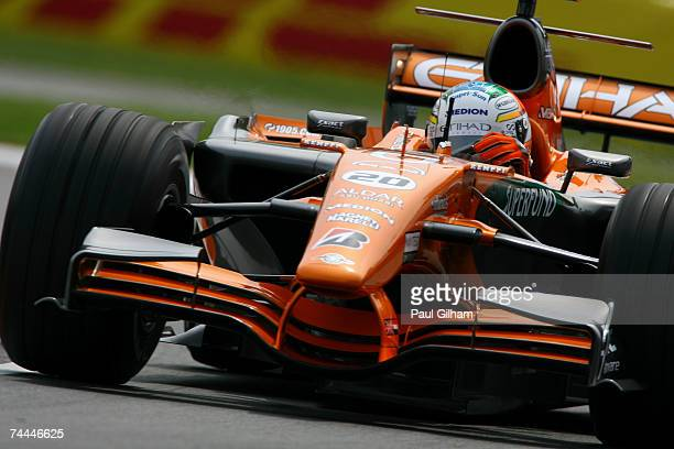 Adrian Sutil of Germany and Spyker F1 in action during practice for the Canadian Formula One Grand Prix at the Circuit Gilles Villeneuve on June 8...