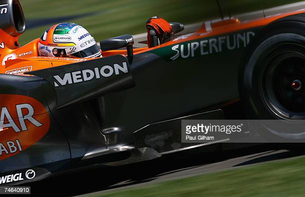 Adrian Sutil of Germany and Spyker F1 in action during practice for the F1 Grand Prix of USA at the Indianapolis Motor Speedway on June 15, 2007 in...