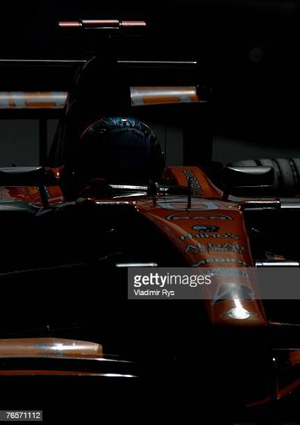 Adrian Sutil of Germany and Spyker F1 in action during practice for the Italian Formula One Grand Prix at the Autodromo Nazionale di Monza on...