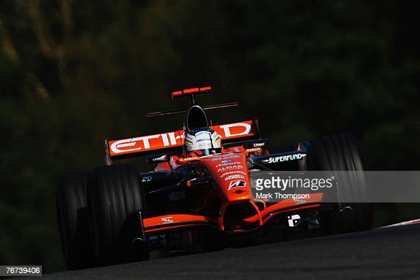 SPA FRANCORCHAMPS BELGIUM SEPTEMBER 14 Adrian Sutil of Germany and Spyker F1 in action during practice for the Belgian Formula One Grand Prix at the...