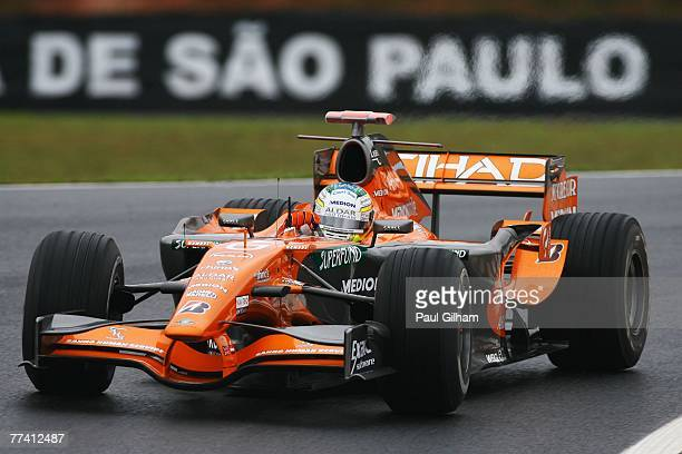 Adrian Sutil of Germany and Spyker F1 in action during practice for the Brazilian Formula One Grand Prix at the Autodromo Interlagos on October 19,...