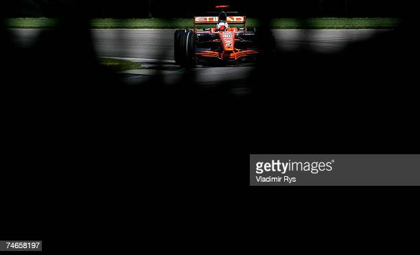 Adrian Sutil of Germany and Spyker F1 in action during practice prior to qualifying for the F1 Grand Prix of USA at the Indianapolis Motor Speedway...