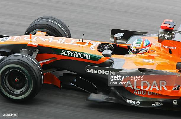 Adrian Sutil of Germany and Spyker F1 in action during qualifying for the Malaysian Formula One Grand Prix at the Sepang Circuit on April 7 in Kuala...