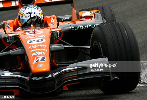 Adrian Sutil of Germany and Spyker F1 in action during qualifying for the Bahrain Formula One Grand Prix at the Bahrain International Circuit on...