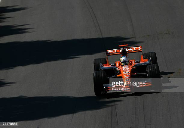 Adrian Sutil of Germany and Spyker F1 in action during qualifying for the Canadian Formula One Grand Prix at the Circuit Gilles Villeneuve on June 9,...
