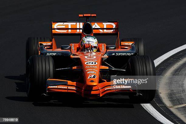 Adrian Sutil of Germany and Spyker F1 in action during the Hungarian Formula One Grand Prix Practice at the Hungaroring on August 3 in Budapest,...
