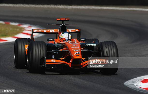 Adrian Sutil of Germany and Spyker F1 in action during the Italian Formula One Grand Prix at the Autodromo Nazionale di Monza on September 9 2007 in...