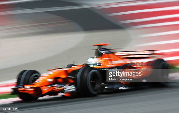 Adrian Sutil of Germany and Spyker F1 in action during the warm up session prior to qualifying for the Spanish Formula One Grand Prix at the Circuit...