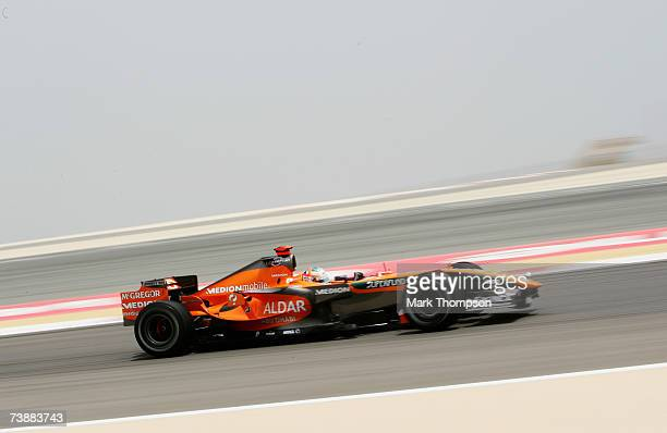 Adrian Sutil of Germany and Spyker F1 in action during warm up session prior to qualifying for the Bahrain Formula One Grand Prix at the Bahrain...