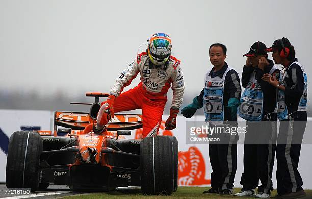 Adrian Sutil of Germany and Spyker F1 retires early from the Chinese Formula One Grand Prix at the Shanghai International Circuit on October 7, 2007...