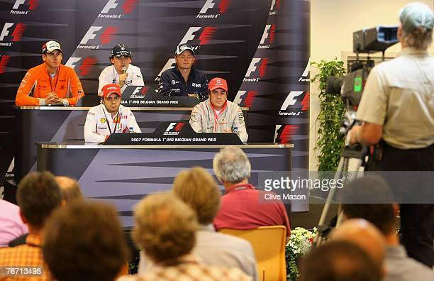 Adrian Sutil of Germany and Spyker F1, Robert Kubica of Poland and BMW Sauber, Nico Rosberg of Germany and Williams and Felipe Massa of Brazil and...