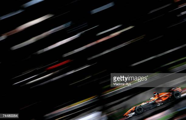 Adrian Sutil of Germany drives his Spyker F1 during qualifying for the Canadian Formula One Grand Prix at the Circuit Gilles Villeneuve on June 9 in...