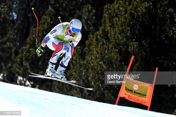 Adrian Theaux of France in action during Men's Downhill training on day one of the 2019 Alpine Skiing World Cup Finals on March 11 2019 in Andorra la...