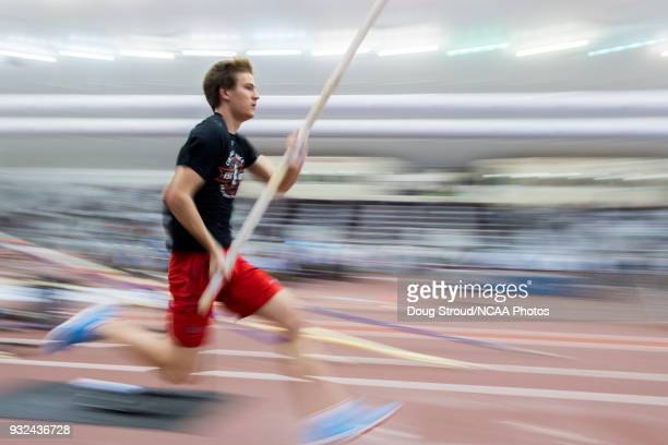 Adrian Valles of the University of Cincinnati warms up for the Pole Vault event during the Division I Men's and Women's Indoor Track & Field...