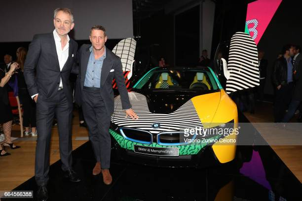 Adrian van Hooydonk and Lapo Elkann attend Memphis event during Milan Design Week 2017 on April 4 2017 in Milan Italy
