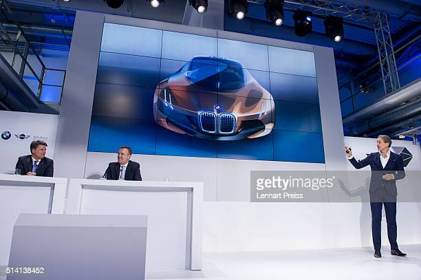 Adrian van Hooydonk Chief Designer of German automaker BMW presents a concept car during a press conference ahead of the celebration marking the...
