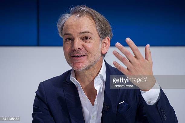 Adrian van Hooydonk Chief Designer of German automaker BMW speaks during a press conference ahead of the celebration marking the 100th anniversary of...