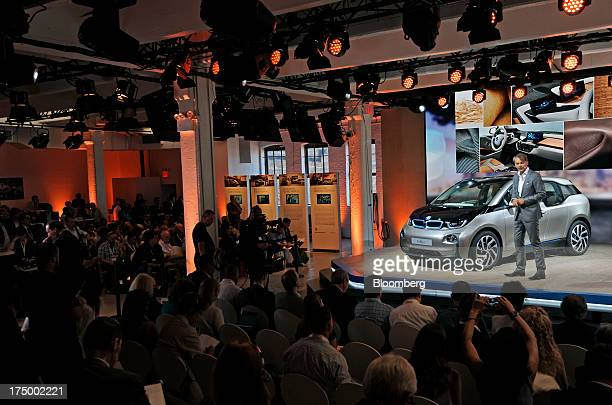 Adrian van Hooydonk global head of design for Bayerische Motoren Werke AG speaks at the unveiling of the new i3 vehicle in New York US on Monday July...
