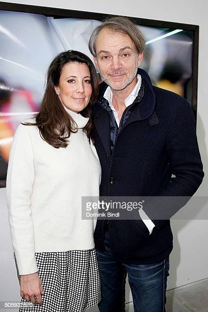 Adrian van Hooydonk Senior Vice President BMW Group Design and his wife Julia during the 'Hubertus Hamm Time Modelling' exhibition preview on January...
