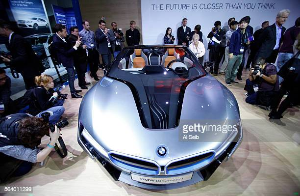 Adrian van Hooydonk Senior Vice President BMW Group Design introduces the BMW I8 convertible during a press conference at the Los Angeles Auto Show...