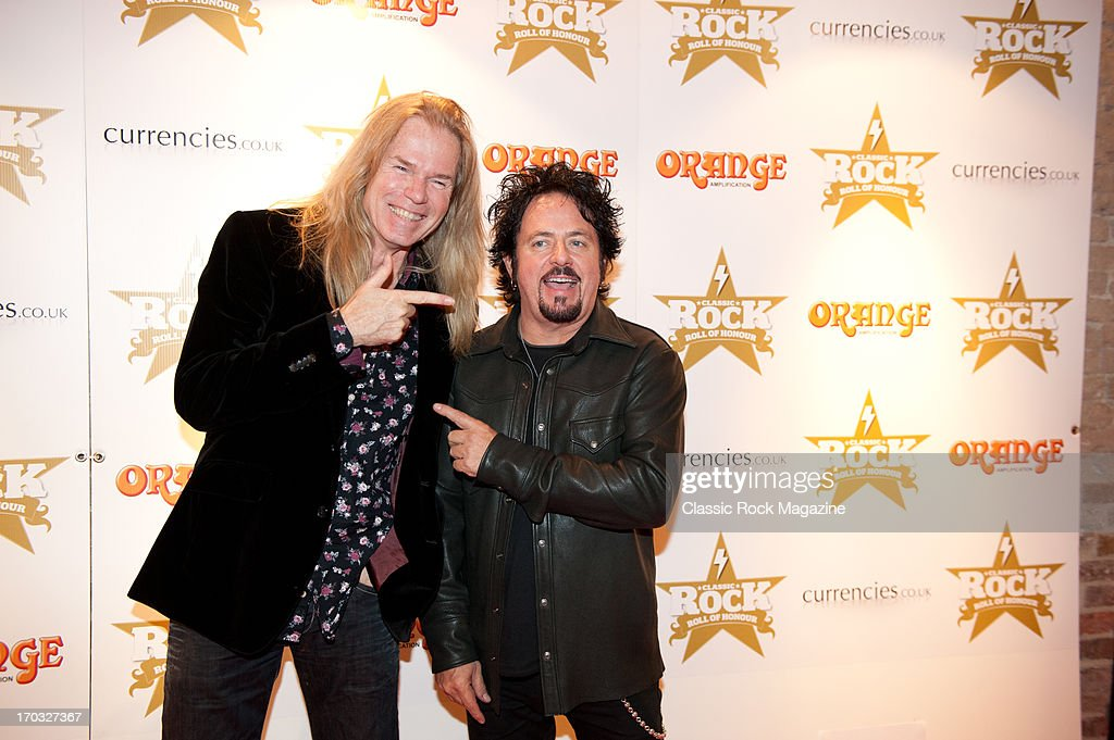 Adrian Vandenberg (L) and Steve Lukather attend the Classic Rock Roll of Honour at the Roundhouse, November 13, 2012.