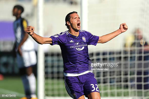 Adrian Winter of Orlando City SC celebrates his game tying goal in overtime during a MLS soccer match between Real Salt Lake and the Orlando City SC...