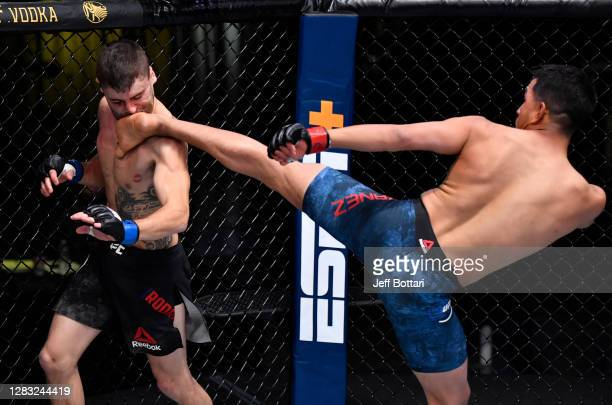 Adrian Yanez knocks out Victor Rodriguez with a kick in a bantamweight bout during the UFC Fight Night event at UFC APEX on October 31, 2020 in Las...