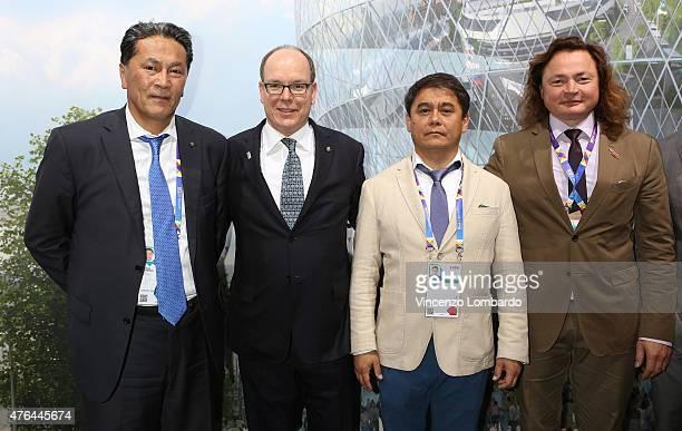 Adrian Yelemessov Prince Albert II Of Monaco Alexandr Suvorov and Vladimir Semenikhin Visit Kazakhstan Pavilion at Expo 2015 on June 9 2015 in Milan...
