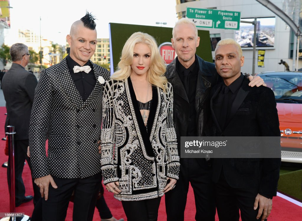 Adrian Young, Gwen Stefani, Tom Dumont and Tony Kanal of No Doubt attend Fiat's Into The Green during the 40th American Music Awards held at Nokia Theatre L.A. Live on November 18, 2012 in Los Angeles, California.